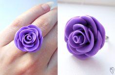 Сиреневая роза - кольцо из полимерной глины.
