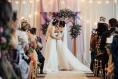 Purple summer wedding in Pittsburgh, Pennsylvania two brides long white dresses bouquets kiss Lesbian Wedding, Lesbian Love, Purple Summer Wedding, Two Brides, Bridesmaid Dresses, Wedding Dresses, Real Weddings, Reception, White Dress