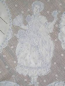"""Swiss Appenzell Embroidered Lace Figural Banquet Tablecloth 116"""" 12 Napkins 23"""" 