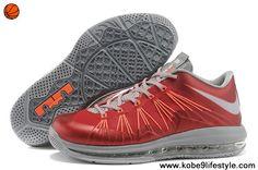 2014 Nike Air Max Lebron 10 Low Red Gray Orange