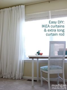 Madigan Made { simple DIY ideas }: How to Create an Extra Long Curtain Rod