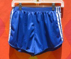 vintage 70s shorts ADIDAS running jogging poly blue stripe trefoil 80s Medium Small workout by skippyhaha