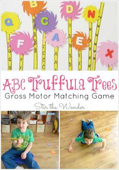 Seuss' birthday and Read Across America Day with this ABC Truffula Trees Gross Motor Matching Game inspired by The Lorax! It's a great way for toddlers and preschoolers to get the wiggles out while practicing letter recognition! Dr Seuss Activities, Gross Motor Activities, Kids Learning Activities, Alphabet Activities, Fun Learning, Toddler Activities, Preschool Activities, Toddler Themes, Preschool Art