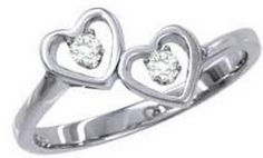 Beautiful Genuine Diamond Double Heart Shaped Design Ladies Ring 14kt White or Yellow Gold Sizes 2-10