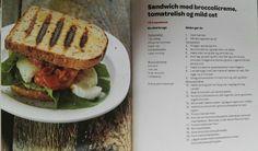 Sandwich med broccolicreme, tomatrelish og mild ost
