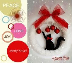 Micio by Laura Tosi www.facebook.com/fattoconamorelaura #cucitocreativo #pannolenci #wreath #fuoriporta #cats #lovehandmade #christmas