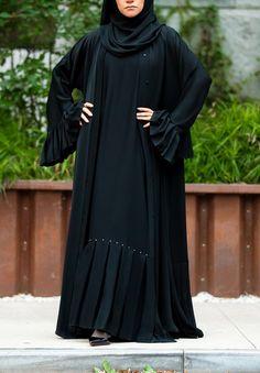 Swarovski Essential Maxi Sheath Dress in Classic Black – Al Shams Abayas Abaya Designs Dubai, Abaya Designs Latest, Abaya Fashion, Muslim Fashion, Fashion Outfits, Fashion Clothes, Stylish Dress Designs, Stylish Dresses, Burqa Designs