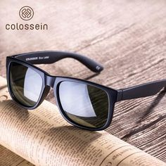a7d029f643 COLOSSEIN Classic Sunglasses Polarized Sun glasses Black Square Frame Men  Women Eyewear For Driving and Fishing