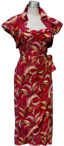 Bombshell sarong dress with matching bolero Vintage Inspired Fashion, 1950s Fashion, Vintage Fashion, Vintage Style, Hawaiian Wear, Vintage Hawaiian, 50 Style Dresses, Vintage Dresses, Vintage Outfits