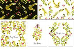 Christmas cards & tile patterns by OKSAP on @creativemarket