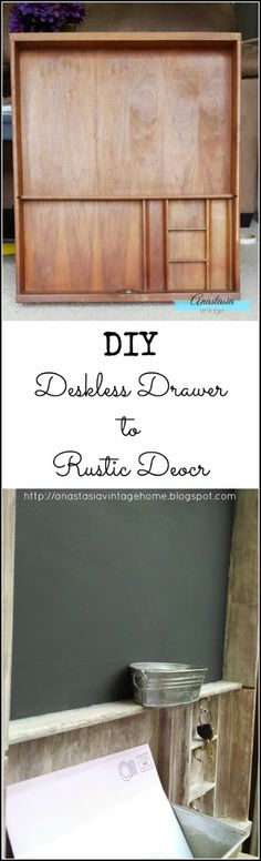Great DIY decor idea! Upcycled repurposed vintage desk drawer becomes an entryway organizer chalkboard, shelf and key rack.