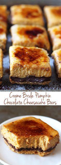 Creme Brule Pumpkin Chocolate Cheesecake Bars - so much BETTER than pumpkin pie! My boyfriend called said these were the best pumpkin dessert he'd ever had! | Dessert Recipe