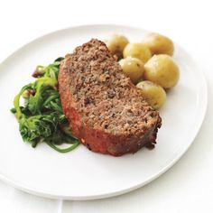 Buffalo Meatloaf with Spinach and Roasted Baby Potatoes Recipe at Epicurious.com #myplate #protein #veggie