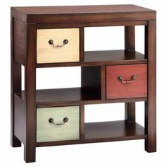 "3-drawer cabinet with 3 open display cubbies and a medium cherry finish.  Product: CabinetConstruction Material: WoodColor: Cherry, white, red, and blueFeatures: Three drawersDimensions: 31"" H x 28"" W x 14"" D"