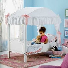 Image Detail for - ... Bedroom Furniture - 2-In-1 Canopy Toddler Bed from Leaps and Bounds