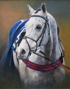 The Winning Grey Original Oil Painting by Equestrian Artist Judi Kent Pyrah