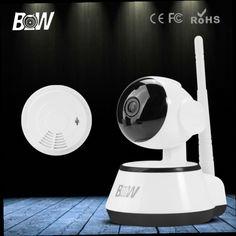 51.68$  Watch now - http://alijzs.worldwells.pw/go.php?t=32592179297 - BW HD 720P IP Camera P2P Smart Pan Tilt IR Cut WiFi Wireless Surveillance Network Baby Monitor Security + Smoke Detector Alarm