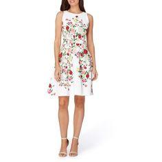 Petite Women's Tahari Floral Fit & Flare Dress ($138) via Polyvore featuring dresses, petite, petite fit and flare dresses, floral fit-and-flare dresses, fit flare dress, ruched dress and white fit and flare dress