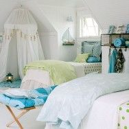 White Bedroom with Blue and Green Accents