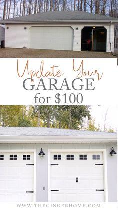 Garage Door Update, Garage Door Paint, Garage Door Makeover, Exterior Makeover, Garage Door Colors, Garage Door Decor, White Garage Doors, Carriage Garage Doors, Faux Garage Door Windows