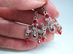 Swarovski Red Crystal Chandelier Earrings Doodaba by doodaba Red Earrings, Chandelier Earrings, Swarovski Crystals, Vintage Fashion, Unique Jewelry, Handmade Gifts, Silver, Etsy, Kid Craft Gifts