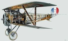 1916-18 Nieuport 17. Aeronautique Militaire - Fighter. Engine: Le Rhone 9Ja 9 cyl rotary engine (110 hp). Armament: 1 x Vickers machine, 1 x Lewis gun on upper wing, 8 x Le Prieur rockets (rarely).