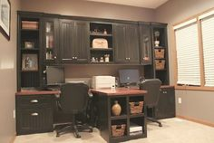 DIY Office with T- shaped Countertop and Built-in Cabinets: MOM this is what you should do for your office, space for you and dad.