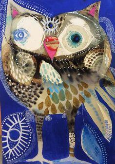 Charlie Three Eyes 34cm x 44cm framed watercolour original.