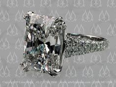 20 carat emerald diamond custom engagement ring by Leon Mege  artofplatinum.com...