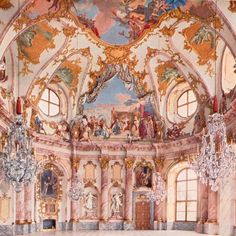 The image shown here is an example of Rococo decoration of a structure or building. It has a sense of chaos in the piece, this was different than the previous Baroque style. Rococo decor often featured vine-like images. Architecture Baroque, Beautiful Architecture, Beautiful Buildings, Architecture Design, Beautiful Places, Jardin Decor, Princess Aesthetic, Rococo Style, French Rococo