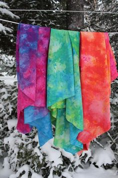 TUTORIAL:  Snow Dyeing is a technique used to dye fabric using snow.  The basic science to this is the cold temperature provided by the snow causes the dye molecules to slow their ability to attach to the fabric giving the dye time to separate into their original colors (if your using a mixed dye, not a pure dye).  Some colors will move a bit faster and attach to the fabric first creating the really cool patterns on the fabric.