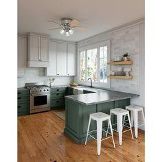 Kitchen Corner, Kitchen Redo, Home Decor Kitchen, Home Kitchens, U Shape Kitchen, Kitchen With Bar Counter, Half Wall Kitchen, Kitchen Cabinets To Ceiling, 10x10 Kitchen