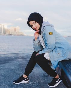📌Hijab 📌Jacket 📌Tunic and joggerpants 📌Shoes Amazing shot by Modern Hijab Fashion, Street Hijab Fashion, Hijab Fashion Inspiration, Muslim Fashion, Modest Fashion, Arab Girls, Muslim Girls, Muslim Women, Hijab Style Tutorial