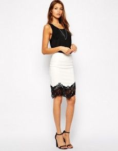 Find the best selection of Lipsy PU Pencil Skirt with Lace Trim. Shop today with free delivery and returns (Ts&Cs apply) with ASOS! High Waisted Pencil Skirt, Pencil Skirts, Women's Skirts, Body Con Skirt, White Outfits, Summer Outfits, Fashion Essentials, Lipsy, Lace Skirt