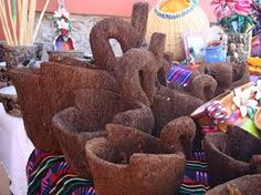 Maceteros hechos de tzitzi, árbol en Xicotepec,únicas en el mundo.
