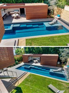 The swimming pool is beautiful using modern and contemporary designs. The house will be cooler and quieter if you have a swimming pool. The design of the pool can be large or small. The size of a swimming pool adjusts to the location and budget. Swiming Pool, Swimming Pools Backyard, Swimming Pool Designs, Pool Landscaping, Pool Spa, Commercial Landscaping, Landscaping Company, Swimming Holes, Pool Decks