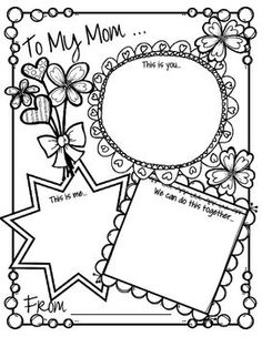 """***FREE***  This is a Mother's Day printable activity card, full page, that can be completed by children from preschool through 2nd grade, or older. There are 3 windows titled """"This is you"""", """"This is me"""" and """"We can do this together"""". There 4 versions of the Mother's Day printable in this pack: • To my Mom • To my Grandma • To my Mum • Left blank to be personalized."""