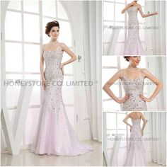 Aliexpress.com : Buy Free Shipping Trumpet Spaghetti Straps Organza Sweep Train with Beading Evening Dresses from Reliable beaded evening dress suppliers on HONEYSTORE CO., LIMITED $550.98