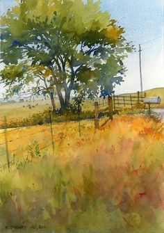 Watercolor Techniques, Painting Techniques, Watercolor Trees, Watercolor Artists, Watercolour Painting, Watercolor Art Landscape, Landscape Paintings, Painting Art, Yellow Fields