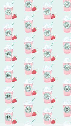 かわいいスタバのストロベリーフラペチーノ iPhone壁紙 Wallpaper Backgrounds iPhone6/6S and Plus Starbucks