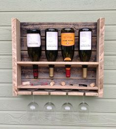 "Small Reclaimed Pine Wine Rack for the balcony with plastic wine ""glasses""!"