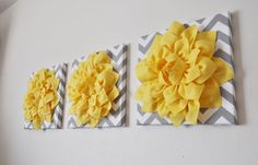 THREE Wall Flower Hangings Bright Yellow Dahlia on by bedbuggs