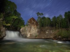 Star Trails Over Crystal Mill Crystal City Ghost Town Colorado