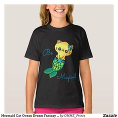 Mermaid Cat Ocean Dream Fantasy Adorable Pretty T-Shirt Mermaid Cat, Dream Fantasy, Ocean Colors, Yellow Cat, Kawaii Fashion, Cute Shirts, Cute Designs, Cute Kids, Kids Outfits