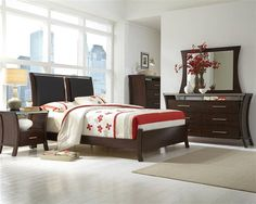 Avalon Contemporary Sable Rubberwood MDF Master Bedroom Set