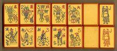 MET PEACOCK vibrant Orange Enrobed Mah Jong Flower tiles (just like green enrobed patterns)
