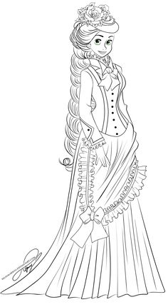 Vintage Disney Coloring Books Inspirational Lineart Vintage Princess Rapunzel the Only Thing that Tangled Coloring Pages, Barbie Coloring Pages, Cartoon Coloring Pages, Disney Coloring Pages, Coloring Book Pages, Coloring Pages For Kids, Disney Princess Colors, Princess Rapunzel, Princess Belle
