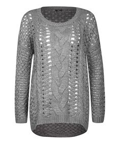 Look what I found on #zulily! Gray Cable-Knit Scoop Neck Top by Fylo #zulilyfinds