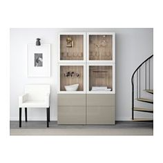 BESTÅ Storage combination w/glass doors, walnut effect light gray, Selsviken high gloss/beige clear glass - 120x40x192 cm - IKEA