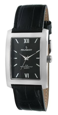 Peugeot Mens 2033BK SilverTone Black Leather Strap and Black Dial Watch      Examine this 16646bcb8e9